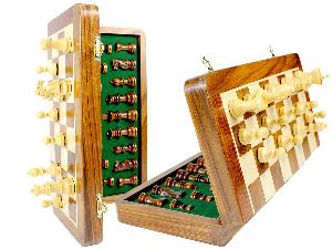 """Magnetic Folding Chess Set Golden Rosewood 14""""+ Extra 2 Queens - 34pcs"""
