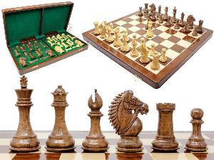 "Rio Staunton Biggie Knight Acacia Wood 4""  Chess Set - 21""  Folding Chess Board with Algebraic Notation - 2 Extra Queens"