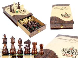 """Heirloom Collection Galaxy Staunton Rosewood Chess Pieces King Size 3"""" packed in Rosewood  Heirloom Box"""