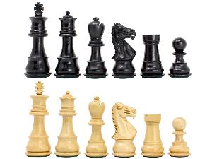 """Ebonized / Boxwood Galaxy Staunton Wooden Chess Set Pieces King Height 3.5"""" - Triple Weighted"""
