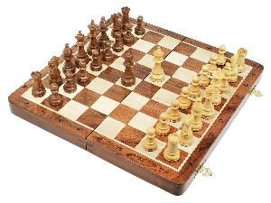 """Victorian Staunton Golden Acacia Wood 3"""" Chess Set - 14"""" Folding Chess Board with Algebraic Engraved Notation - 2 Extra Queens"""