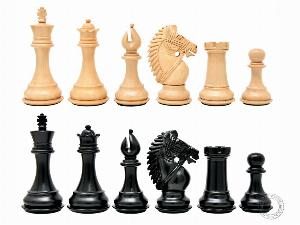 """Ebonized / Boxwood Chess Set Pieces Rio Staunton 4"""" (102 mm) - 2 Extra Queens - Triple Weighted"""