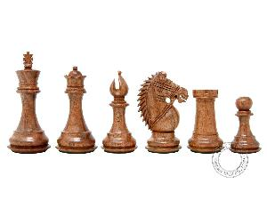 "Ringy Rosewood (Acacia Rhodoxylon) / Boxwood Chess Pieces Rio Staunton - King Height 4"" (102 mm) - 2 Extra Queens - Triple Weighted"