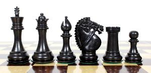"Ebony / Boxwood Chess Pieces Rio Staunton - King Height 3.75"" (95 mm) - 2 Extra Queens - Triple Weighted"
