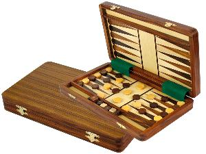 "Folding Magnetic Travel Backgammon Set 12""x7"" inlaid with Golden Rosewood and Rosewood on White Maple Floor"