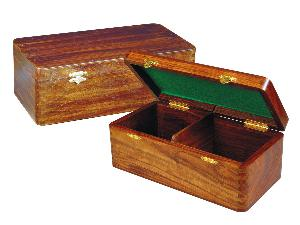 """Wooden Chess Box for Storage of Pieces from King Size 3-1/2"""" to 3-3/4"""" in Walnut Color"""