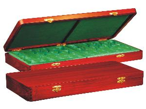 """Wooden Presentation Box for Chess Pieces from King Size 3-3/4"""" to 4"""" Mahogany Colored"""