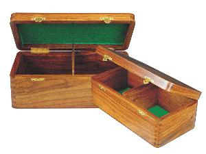 "Wooden Chess Box for Storage of Pieces from King Size 4"" to 4-1/2"" in Golden Rosewood"