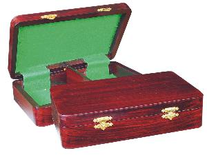 """Wooden Chess Pieces Storage Box for King Size 3-1/2"""" to 3-3/4"""" Rosewood Colored"""