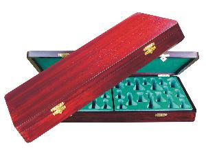 "Wooden Presentation Box for Chess Pieces from King Size 3-3/4"" to 4"" Rosewood Colored"