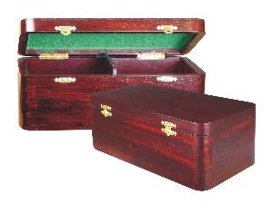 "Wooden Chess Box for Storage of Pieces from King Size 3-1/2"" to 3-3/4"" in Rosewood Color"
