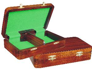 """Wooden Chess Pieces Storage Box for King Size 2-1/2"""" to 2-3/4"""" Walnut Colored"""