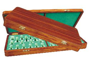 "Wooden Presentation Box for Chess Pieces from King Size 3-3/4"" to 4"" Walnut Colored"