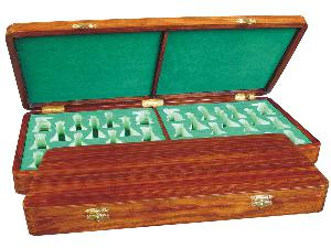 """Wooden Presentation Box for Chess Pieces from King Size 4"""" to 4-1/2"""" Walnut Colored"""