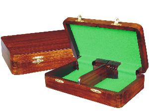 """Wooden Chess Pieces Storage Box for King Size 3"""" to 3-1/2"""" Walnut Colored"""