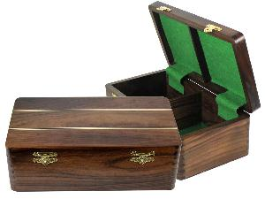 """Ebony/Maple Inlaid Solid Rosewood Chess Box for Storage of Pieces from King Size 4"""" to 4-1/2"""""""