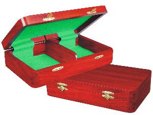 """Wooden Chess Pieces Storage Box for King Size 4"""" to 4-1/2"""" Mahogany Colored"""
