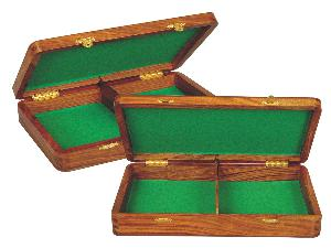 """Wooden Chess Pieces Storage Box for King Size 3-1/2"""" to 3-3/4"""" Golden Rosewood"""