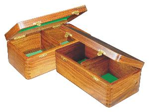 """Wooden Chess Box for Storage of Pieces from King Size 4-3/4"""" to 5"""" in Golden Rosewood"""