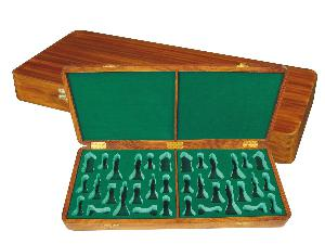 "Wooden Presentation Box for Chess Pieces from King Size 4"" to 4-1/2"" Golden Rosewood"