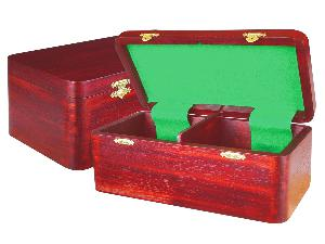 "Wooden Chess Box for Storage of Pieces from King Size 2-1/2"" to 2-3/4"" in Mahogany Color"