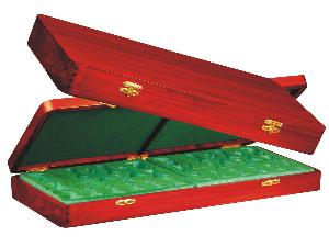 """Wooden Presentation Box for Chess Pieces from King Size 4"""" to 4-1/2"""" Mahogany Colored"""