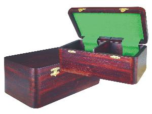 "Wooden Chess Box for Storage of Pieces from King Size 2-1/2"" to 2-3/4"" in Rosewood Color"