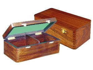 """Wooden Chess Box for Storage of Pieces from King Size 3"""" to 3-1/2"""" in Walnut Color"""