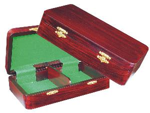 """Wooden Chess Pieces Storage Box for King Size 3"""" to 3-1/2"""" Rosewood Colored"""