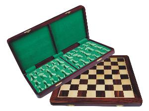 "Folding Chess Board/Box Rosewood/Maple 18"" with chessmen inserts"