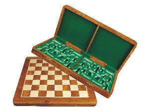Wooden Folding Chess Board Golden Rosewood/Maple 18""