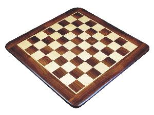 """Wooden Flat Chess Board Rosewood/Maple 23"""" Rounded Edges"""