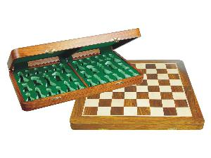 "Wood Chess Set Board Folding Box 22"" Golden Rosewood/Maple"