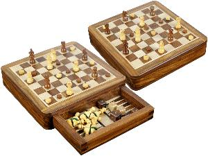 "Magnetic Chess Set and Inlaid White Maple Floor Backgammon Combo with Push Drawer 7-1/2"" Golden Rosewood/Maple"
