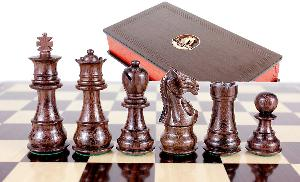 "Rosewood/Boxwood Chess pieces Galaxy Staunton 3"" + 2 Extra Queens + Wooden Designer Storage Box"