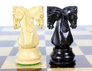 """Ebony/Boxwood Chess Set Pieces Twin Knight Staunton 4.6"""" (117 mm) - Triple Weighted + 2 Extra Queens + Wooden Storage Box"""