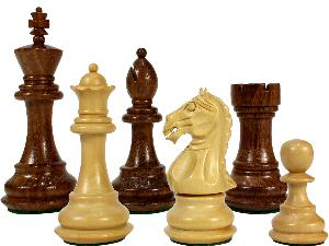 """Fierce Knight Staunton Wooden Chess Pieces King Size 3"""" Golden Rosewood/Boxwood"""