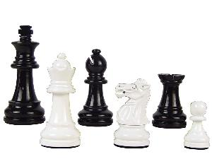 "Wood Chess Set Pieces Empire Staunton King Size 3"" Black/Ivory Color"