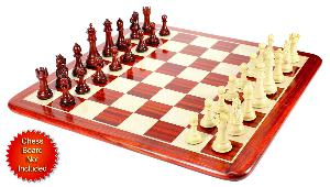 "Bud Rosewood/Boxwood Chess Set Pieces Royal Knight Staunton 4.5"" + 2 Extra Queens"