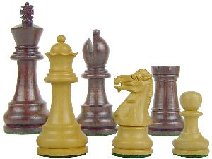 "Wood Chess Set Pieces Monarch Staunton King Size 3-1/2"" Rosewood/Boxwood"