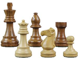 """Famous Staunton Wood Chess Pieces King Size 3-1/4"""" Golden Rosewood/Boxwood"""