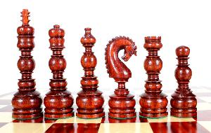 """Bud Rosewood Chess Set Pieces Classy Knight 6.5"""" (165 mm) - Triple Weighted + 2 Extra Queens"""