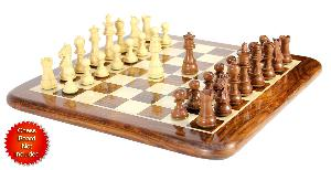 """Mahogany/Boxwood Chess Set Pieces Galaxy Staunton 3"""" (76 mm) + 2 Extra Queens - Triple Weighted"""
