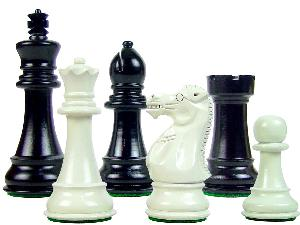"Perfect Tournament Chess Set Pieces Imperial Staunton Black/Ivory 4"""