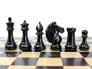 """Rio Staunton Weighted Chess Pieces King Height 3"""" - 2 Extra Queens - Ebonized/Boxwood"""