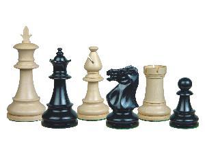 "Victorian Staunton Wooden Chess Pieces Ebony/Boxwood 3-3/4"""