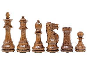 """Tournament Chess Set Pieces Unique Staunton King Size: 3.75"""" in Golden Acacia Wood / Boxwood"""