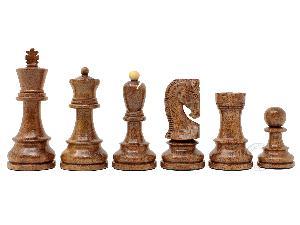 """Yugo (Zagreb) Staunton Wooden Tournament Chess Pieces King Size 3-3/4"""" Acacia Wood/Boxwood + 2 Extra Queens"""