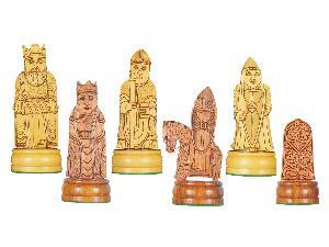 "Isle of Lewis Theme Chess Pieces American Cherry/Boxwood 4-1/4"""