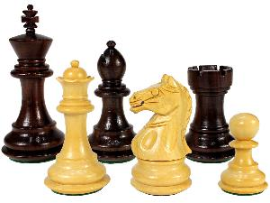 """Fierce Knight Wooden Chess Pieces King Size 3"""" Rosewood/Boxwood"""
